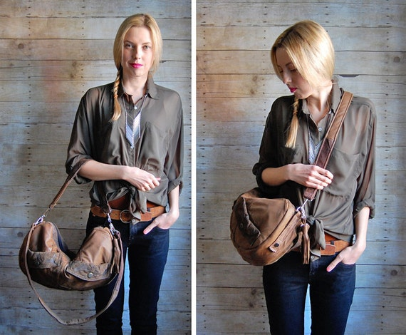 SALE... Brown Furrow Reclaimed Leather Bag