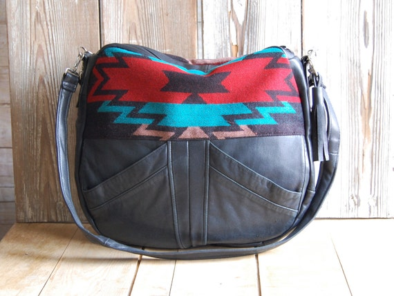 Tundra in reclaimed black leather and navajo fabric