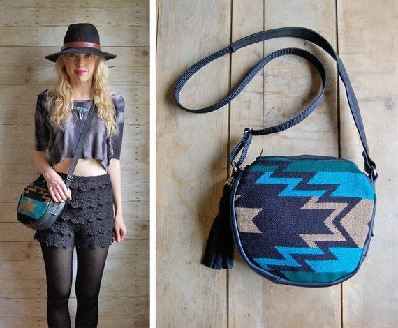 GYPSY small summer bag - leather and navajo cross body shoulder handbag