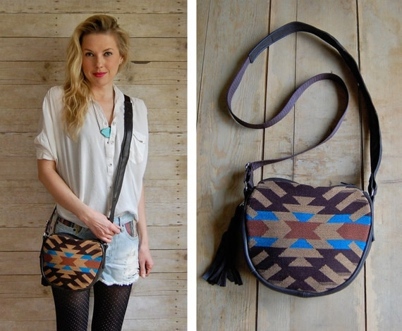 GYPSY small summer bag - leather and navajo cross body shoulder handbag