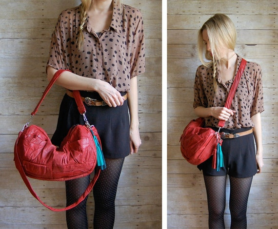 Red Furrow Reclaimed Leather Bag with multi-colored tassel