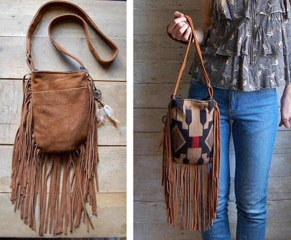 two sided navajo suede brown fringe bohemian navajo bag