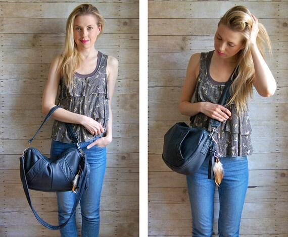 Dark Navy Furrow Reclaimed Leather Bag