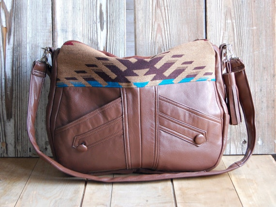 Tundra in reclaimed brown leather and navajo fabric