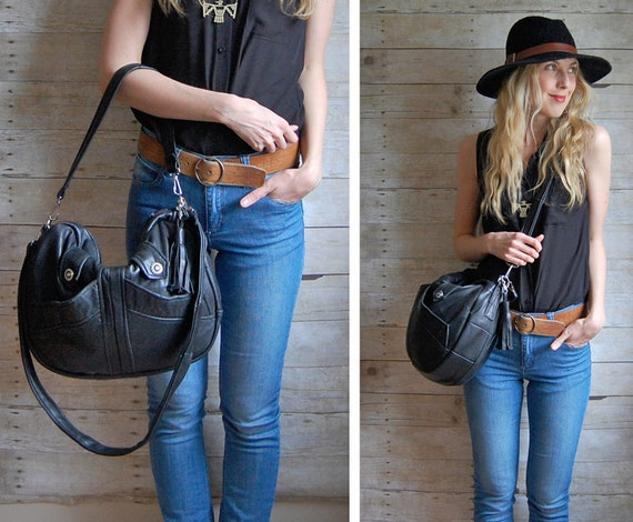 Black Furrow Reclaimed Leather Bag