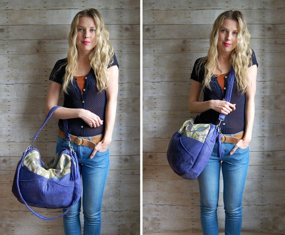 SALE /// TUNDRA /// purple leather bag with botanical fabric