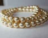 """Champagne Chunky Pearl Necklace 32"""" Long, 14k gold metal, light gold pearls, drape necklace, butter, sunshine, sunbeam, canary, banana"""