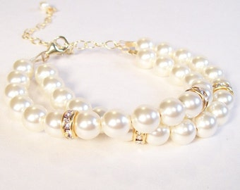 Cream Bridal Bracelet with Rhinestones, Double Strand Wedding Jewelry, Ivory Brides Bracelet, Off White Bridal Jewelry, Cream Wedding Jewelr