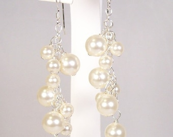 Cream Pearl Chandelier Earrings, Full Ivory Bridal Jewelry, Off white, cluster earrings, soft white, butter, diamond white, bisk, bisque