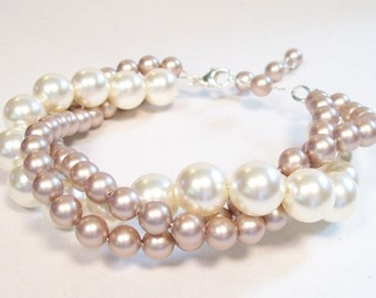 Cream & Tan Bridesmaids Bracelet, Brown Bracelet, Ivory Bridal Jewelry, Beige Wedding Jewelry, Brown Weddings, Tan Weddings, cafe, latte
