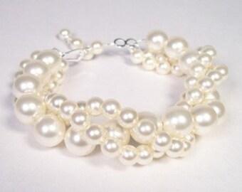 Cream Bridal Bracelet, Twisted three Strand Chunky Wedding Bracelet, ivory, soft white, diamond white, off white, pure snow