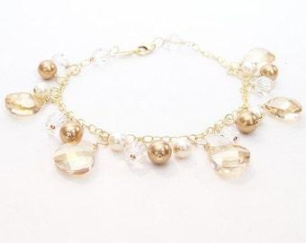 Champagne & Brown Bridal Bracelet, Teardrop Cream Wedding Jewelry, Champagne Bridal Jewelry, 14k Gold, Wedding, cafe, latte, butterscotch