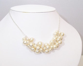 Ivory Pearl Cluster Bib Bauble Necklace, Chunky Bridal, bubble necklace, cream, butter, off white, soft ivory, diamond white, honey, neutral