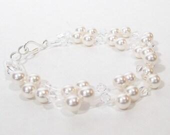 White & Crystal illusion bridla bracelet, floating two strand bracelet, diamond white, clear crystals, snow white, pure, twinkle twinkle