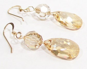 Champagne Teardrop Wedding Earrings, Bridal Jewelry, Light Brown, chocolate, candlelight, cafe, cashmere, latte, butterscotch, golden butter
