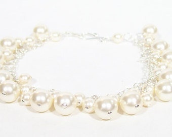 Ivory Cream Bridal Bracelet Pearl Cluster, Chain Chandelier Wedding Jewelry, Butter, Off White, Soft Ivory, diamond white, dangle bidesmaid