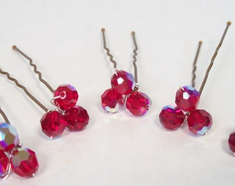 Cranberry Red Crystal Wedding Hairpins, Marsala Bridesmaids Jewelry Accessories, Red Weddings, cherry, apple, merlot, bordeaux