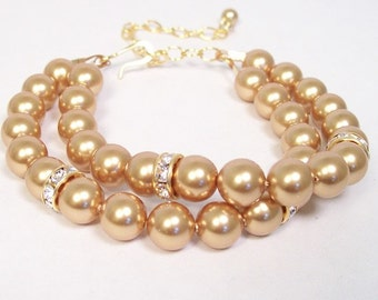 Gold Pearl & Rhinestone Wedding Bracelet, Double Strand Pearl Harvest Gold, Sunbeam, Marigold, Enchanted Glow, Toffee, Butterscotch, cafe