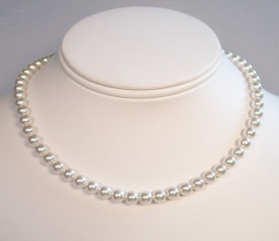 Single Strand White Pearl Necklace, 30 Pearl Color Options Available, diamond white, soft white, pure white, snow white, true white