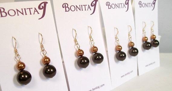 Brown & Copper Bridesmaids Earrings, Brown Weddings, Fall Weddings, Pearl Drop, burnt orange, sienna, persimmon, latte, espresso, coffee