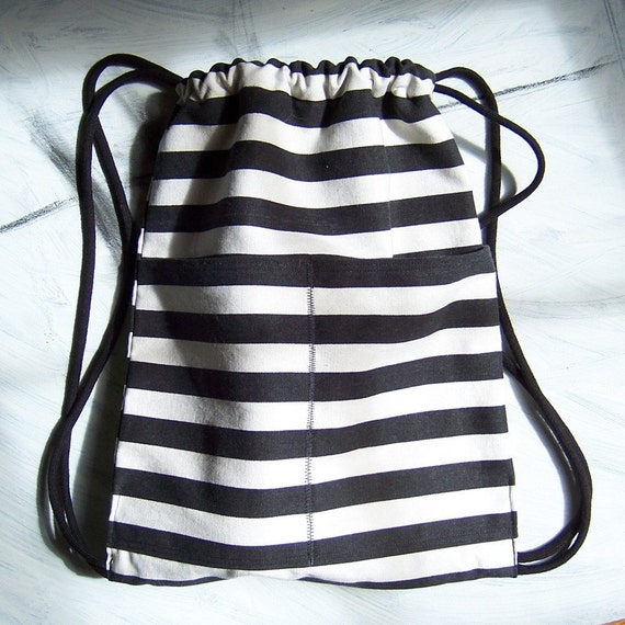 Black and White Stripe Backpack with Drawstring Closure