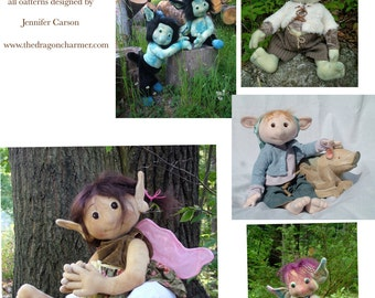 Collection of Faerie Creatures sewing patterns, plus a new design for 2011, Polliwogs, Delivered by Digital Download