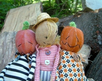 Pumpkin-headed Jack and Scarecrow Joe, a great sewing pattern for fall