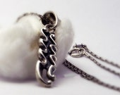 Aquarius zodiac silver pendant