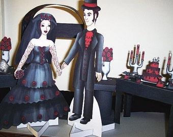 Gothic Wedding Paperdoll Playset -- Digital Download Printable