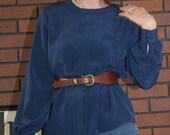 80s Vintage Helena Navy Silky Pleated Blouse