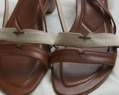 80s Vintage Cole Haan Caramel Leather and Linen Sandals