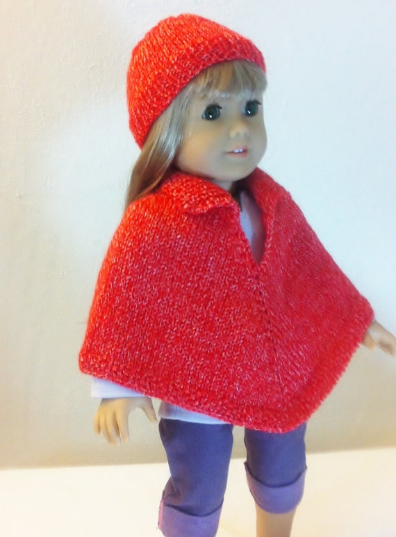 American Girl Doll Clothes - Hand Knitted Red Cape and Hat