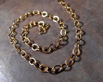 By the Foot, 5mm x 4mm Flattened Cable Chain, 14/20 Gold Filled Chain, Jewelry Supplies, Extender Chain (57f)