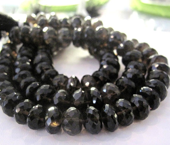 Large Smoky Quartz Beads, 7mm Dark Brown Smoky Quartz Rondelles, 7 Inch Strand of Natural Gemstones for Making Jewlery (R-Sq1)