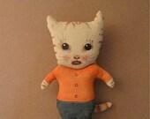 Cat ooak doll- ugly cute- bad boy- strange kitty- white cat- meow- cat art doll