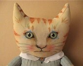 cat art doll ooak- ugly cute - orange stripe kitty- boy kitty-  meow- Charles the cat