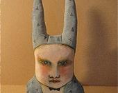 rabbit ooak art doll- fiber art- original bunny guy-  ugly cute- painted stuffed sculpted- canvas pillow- ooak