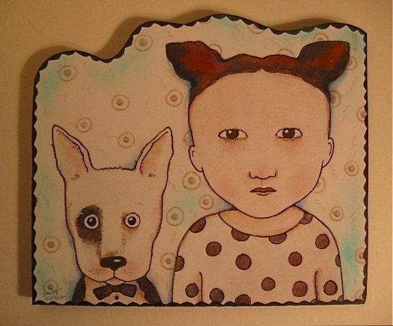 Spot and Dot , illustration on cut out board , wall art , ready to hang,handmade