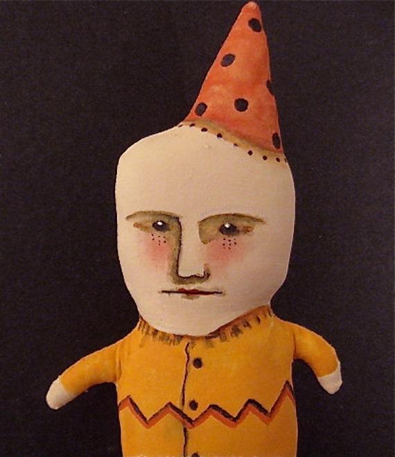 art doll clown-  little Edgar-  sewn- stuffed- painted- original Fiber Art- Odd Boy- circus kid- ugly cute- euc team