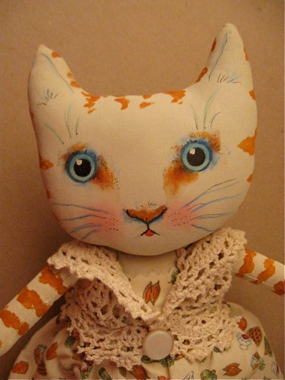 RESERVED for Kitty - - - - - cat art doll ooak- vegetable print fabric- hand painted face- ugly cute - orange stripe kitty-  autumn
