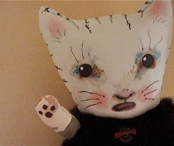 cat doll- ooak art doll- ugly cute- meow- fake fur- Cry baby Belinda- fabric heart- kitty doll
