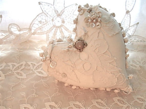 Shabby Chic Heart Pillows : Fabric ooak heart pillow pretty creamy white shabby chic