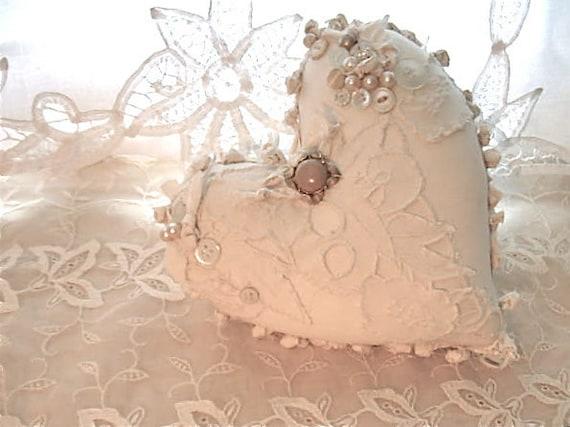Fabric ooak heart pillow pretty creamy white shabby chic