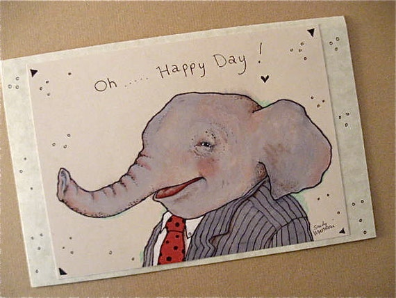 Elephant greeting cards- set-- blank inside- handmade with envelopes- BIG card- and gift cards- oh happy day- laughing elephant