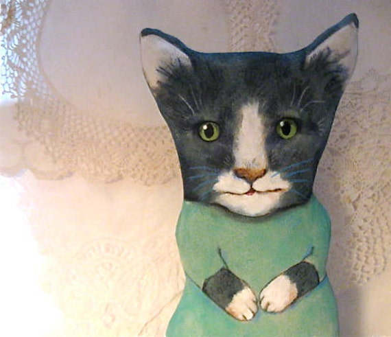 Big cat ooak art doll- kitty- handmade- sewn stuffed and hand painted- ooak doll- meow- black and white- soft teal