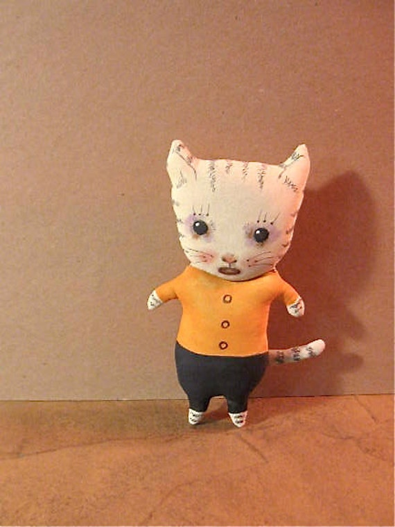cat art doll ooak- wall art- shelf art- ugly cute- cry baby cat- meow- euc