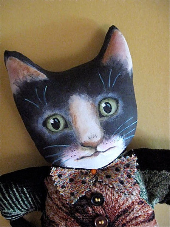tuxedo cat art doll- original cat art-  Buddy- meow- faux barkcloth upholstery remnant-