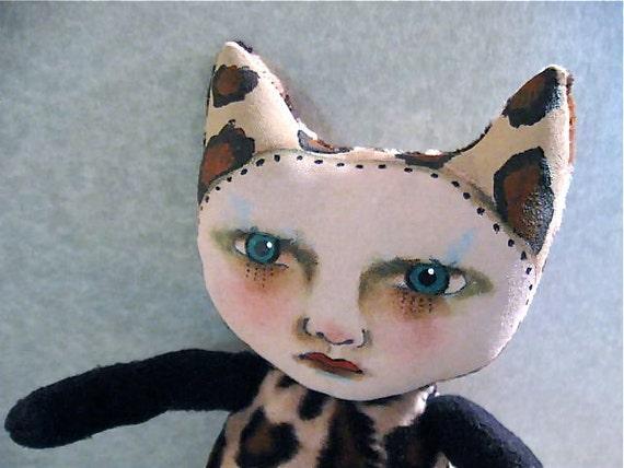 Leopard cat Art doll ooak- hand painted face- one of a kind- fiber art- ugly cute- cat girl art