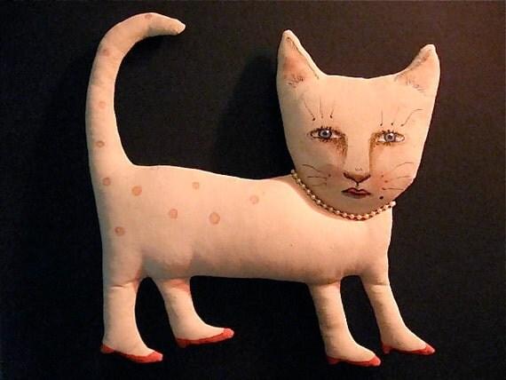Fancy Lady cat art doll ooak- shelf art- ugly cute- weird doll- strange cat- lipstick and red heels- pearls and a beauty mark- meow- euc