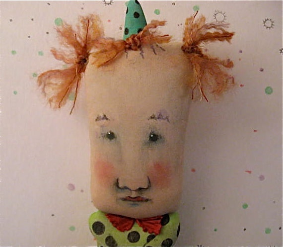 art doll clown ooak- weird Max the-  hand painted doll- carnival- circus- euc- -  odd doll